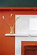 Orange wall with vase and shelves - 9347-130-1