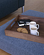 Coffee break  floor cushions and tray with  mugs and biscuits - 9784-270-1