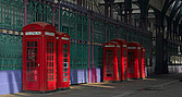 Red telephone boxes, Smithfield Market, Smithfield, London - 11374-110-1