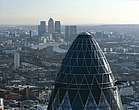 Pinnacles of City of London with top of  30 St Mary Axe, the Gherkin, 1997 - 2004 - 10696-230-1