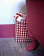 Detail of red and white check bag of towels against free standing claw foot bath - 24205-70-1