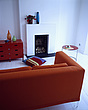 Red sofa in modernwhite living room - 24389-140-1