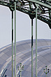 The Sage Gateshead (RIBA Inclusive Design Award) seen through the Tyne Bridge, Newcastle Gateshead, UK - 31876-180-1