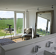 Ensuite bathroom in bedroom, zero carbon house, Crossway, Kent, England, UK - 12552-270-1