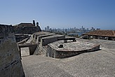Fort San Felipe (17th century) with view of the new city (Boca Grande) behind, Cartagena de Indias, Colombia - 12684-130-1