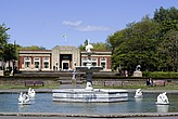 View of the fountain with the art deco cafe behind, Stanley Park, Birmingham, England - 12694-40-1