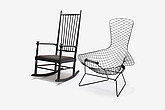 Bird Chair, designed by Harry Bertoia; Ebonised Rocking Chair, designed by Karl Axel Adolfson - 12528-2140-1