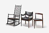 Teak Tripod Dining Chair, designed by Hans Olsen; Modus Armchair, designed by Kristian Vedel; Ebonised Rocking Chair, designed by Karl Axel Adolfson - 12528-2170-1