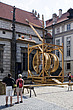 Replica of a 14th century wooden crane in the ground of the castle in Prague Czech republic - 12885-70-1