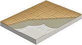 cutaway illustration parquet wood flooring on cement screed - 80004-10-1
