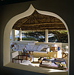Roof terrace shaded by a traditional makuti thatched roof, Lamu, Kenya - 60334-60-1