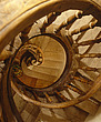 A walnut wood stairwell spirals down three floors and is so rare it is protected by Les Monuments Historiques de France - 60791-50-1