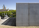 Photovoltaic panel with chair on terrace of Jacksons Ope, Eco house, Truro, Cornwall, England, UK - 13125-160-1