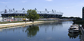 View of the Olympic Stadium from the Lee Valley River navigation, Stratford, London, E15, England  - 13522-190-1