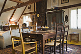 Antique table, chairs and furnishings in the upstairs dining room of an Old Canadiana (circa 1810) Cottage style residential home, Lanaudiere, Quebec,... - 13559-420-1