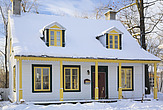 Old Canadiana Cottage style Residential Home in Winter, Lanaudiere, Quebec, Canada - 13559-570-1