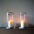 Two candles in glass cylinders and candle snuffer - 13562-220-1