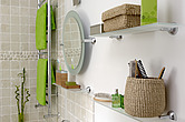 Tiled bathroom makeover, lime accessories - 13633-50-1