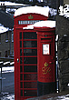 Telephone box and post box in the snow at Haworth, West Yorkshire  christmas snow winter cold cheery British festive nostalgic English mail communicat... - 6330-10-1
