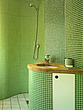 Green terrazzo wetroom with basin and wooden worktop  - 11514-100-1