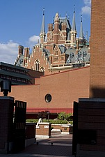 Courtyard in front of the British Library with views of the spires of St Pancras station, London  NW1 - 12656-130-1