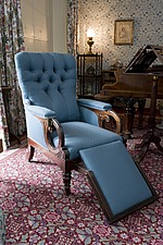 Charles Darwin's chair and piano in Music Room of Down House, Luxted Road, Downe, Kent, England, UK - 12789-150-1