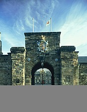 Gate entrance with the Coat-of-Arms of George I, Berwick Barracks, Berwick upon Tweed, Northumberland, UK - 32122-70-1