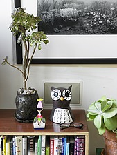 Display  with  ceramic owl and  potted sedum - 12722-180-1