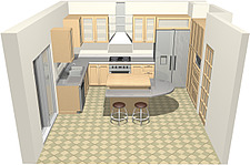 illustration of a kitchen  layout, from a high viewpoint - 80000-20-1