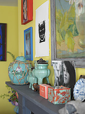Objects arranged along a mantelpiece including a chinese ginger jar and a tea caddy - 13412-60-1