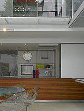 Philippe Starck chairs at table in kitchen, Lavender House, Hampstead, London - 13488-80-1