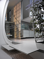 View into futuristic kitchen and staircase, Paxton house, London, UK - 11655-10-1