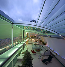 Living space with open roof at dusk, Paxton House, London, UK - 11655-290-1