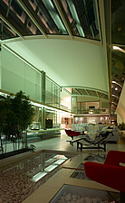 Living space at night with roof closed in Paxton House, London, UK - 11655-300-1