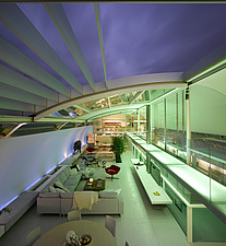 Elevated view of open plan living space at dusk with roof open in Paxton House, London, UK - 11655-320-1