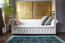 White leather chesterfield sofa below gold leaf interior diptych in 2nd floor study - 13802-10-1