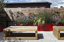 Red powder-coated steel planters with mixed planting, including lychnis, verbena bonariensis, and grass with cedar slatted screen, and slatted wooden... - 14152-10-1