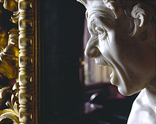 Giovanni Bernini sculpture of a head and gilded frame in the Spanish Embassy to the Holy See, Piazza di Spagna, Rome - 37-150-1
