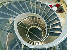 Elevated view of spiral staircase, Linklaters office headquarters, London, England, UK - 15043-130-1