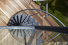 Steel spiral staircase from above, private residence Dorset 2013 - 15060-50-1