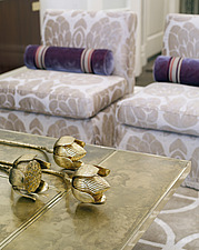 Close up detail coffee table and gold flowers in residential house, USA - 14303-190-1
