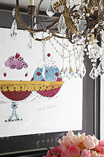 Detail of chandelier and print in dining area - 15957-560-1