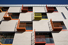 Coloured balconies and checkerboard windows - 16268-230-1