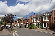 Victorian semi detached family homes in Nottingham, England seen from the roadside - 16382-110-1