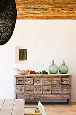 Chest of drawers with two green glass vases - 16440-110-1