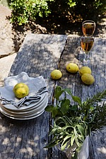 Lemons, pile of plates and serviettes and glasses of white wine on rustic wooden table - 16440-320-1