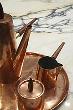 Vintage copper coffee set on marble worktop Reece Mews: a refurbished mews house in South Kensington on 4 floors with mezzonines and lightwells - 16610-580-1