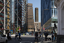 Busy London streetscape towards Blavatnik Building formerly known as Switch House, Tate Modern, London - 16626-200-1
