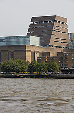 River Thames towards, Tate Modern and Blavatnik Building formerly known as Switch House, London - 16626-420-1