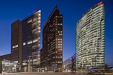 Potsdamer Platz, with BahnTower, Forum Tower, Sony Center, and DaimlerChrysler Building, Berlin - 16763-150